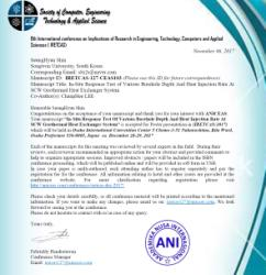 Acceptance letter of International conference